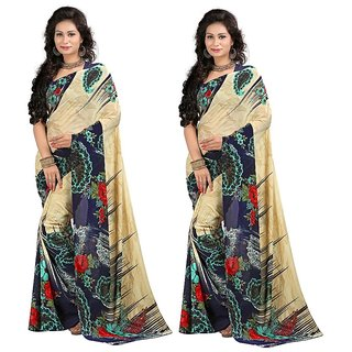 Stylobby Multicolor Brocade Floral Print Saree With Blouse (Combo of 2)
