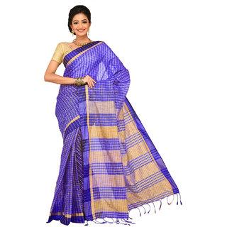 Sangam Blue Cotton Self Design Saree With Blouse