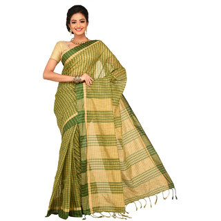 Sangam Beige Cotton Self Design Saree With Blouse