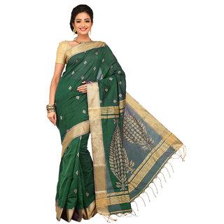 Sangam Beige Cotton Self Design Saree With Blouse