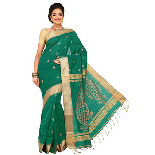 Sangam Green Cotton Self Design Saree With Blouse