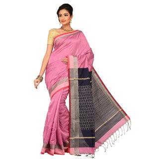 Sangam Black Cotton Self Design Saree With Blouse