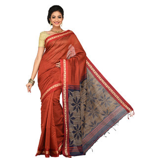Sangam Brown Cotton Self Design Saree With Blouse