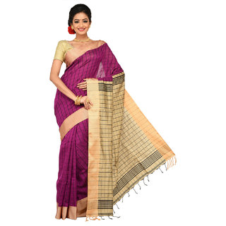 Sangam Purple Cotton Checks Saree With Blouse