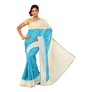 Sangam Turquoise Bhagalpuri Silk Embroidered Saree With Blouse