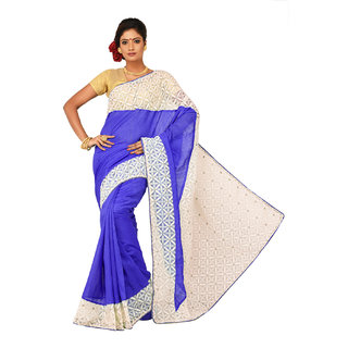 Sangam Blue Bhagalpuri Silk Embroidered Saree With Blouse