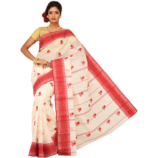 Sangam Red Cotton Embroidered Saree With Blouse