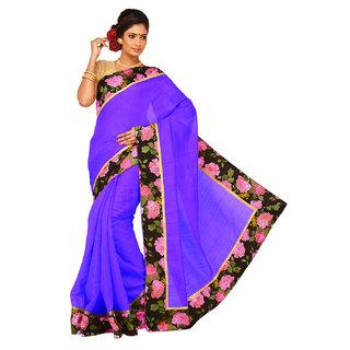 Sangam Green Bhagalpuri Silk Printed Saree With Blouse