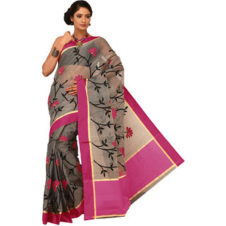 Sangam Black Supernet Embroidered Saree With Blouse