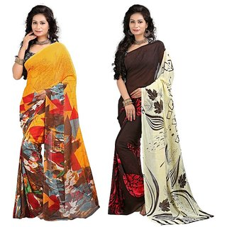 Stylobby Multicolor Brocade Printed Saree With Blouse (Combo of 2)
