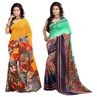 Stylobby Multicolor Brocade Floral Print Saree With Blouse (Pack of 2)