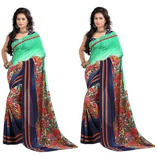 Stylobby Floral Print Saree Combo Of 2Sty9-9