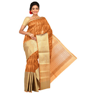 Sangam Beige Cotton Printed Saree With Blouse