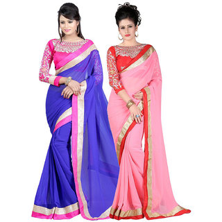 Online Fayda Blue  Pink Raw Silk Embroidered Saree With Blouse