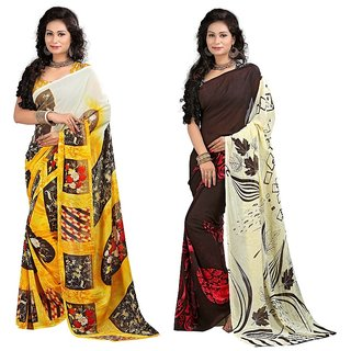 Stylobby Multicolor Brocade Floral Saree With Blouse