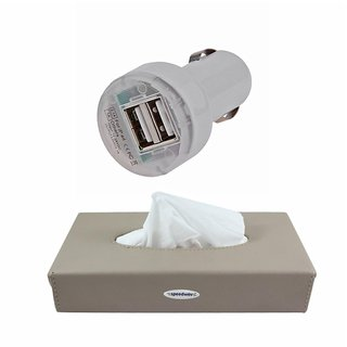 Takecare Car 12V Twin Usb Mobile Charger + Tissue Box Holder For Maruti Wagon R Old 2010-2015