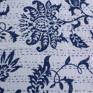 Kantha Gudari Cotton Quilt Paisley Design Beautiful Queen Size Handmade Indian Bedcover(BHI-16)