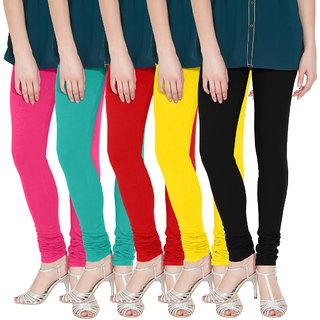 Nicewear Multicolour Cotton Lycra Leggings - Pack Of 5