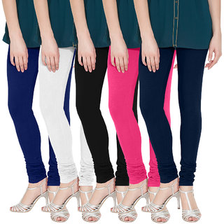 Nicewear Multicolour Cotton Lycra Leggings - Pack Of 5