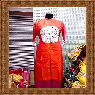 suit Georgette Sharara orange and pink combination