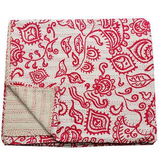 Kantha Throw Bird Design Handmade Ethnic Twin Size Bedspread(BHI-28)