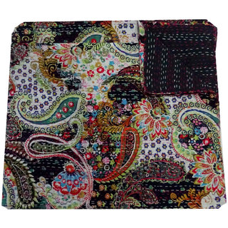 Kantha Gudari Cotton Quilt Paisley Design Beautiful Queen Size Handmade Indian Bedcover(BHI-22)