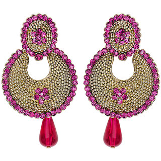 Mitthi Jewels Traditional Pary Wear Pink Indian Golden Earrings