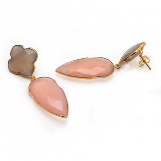 925 sterling silver pink chalcedony  gray chalcedony gemstone earring