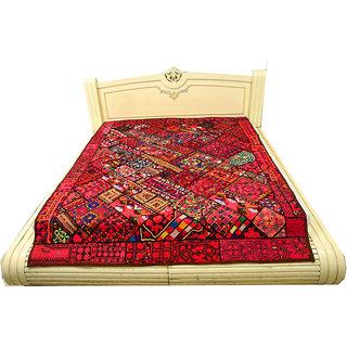 Embroided Multicolor Designer Unique Pattern Ethnic Paki Double Bedcover(BHI-77)