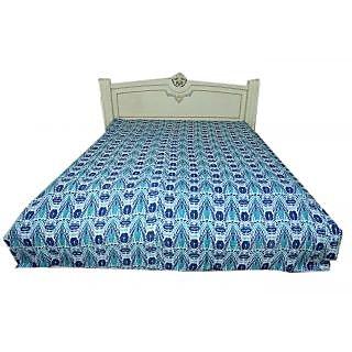 Kantha Gudari Geometrical Design Queen Size Ralli Handmade Bedcover(BHI-108)
