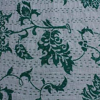 Kantha Gudari Zigzag Ekat Queen Size Quilt Indian Bedcover(BHI-120)