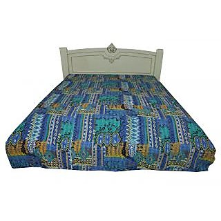 Kantha Quilt Queen Size Gudari Geometrical Design Ethnic Bedcover(BHI-110)