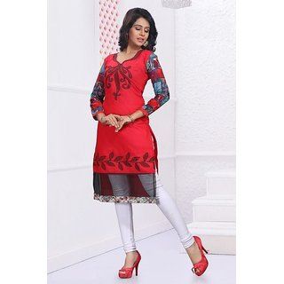 Reusha Red Cotton Embroidery Designer Kurti With Net
