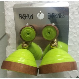 Bright Green Jhumka with Brown Border