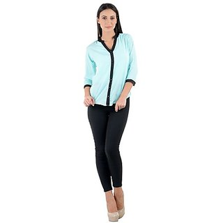 Raabta Womens LightSkyBlue with Black Detail Shirt