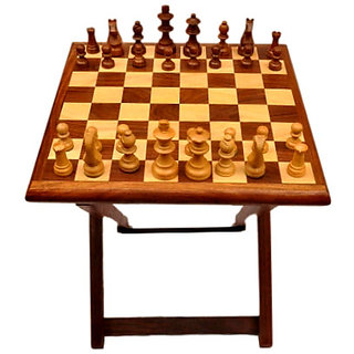 Mavi Folding Sheesham Wood Chess Game Table-MCT-926