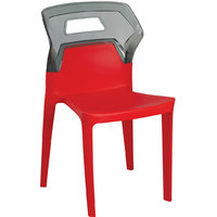 AURA Red Set Of 4 Plastic Cafeteria Dining Chairs By Swagath Furniture