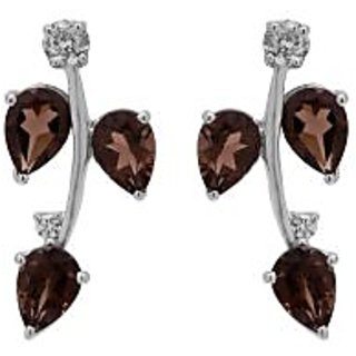 Allure Jewellery 925 Sterling Silver Smokey and CZ Earrings
