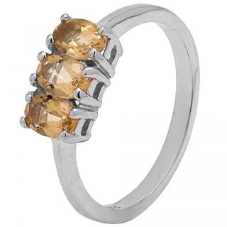 Allure Jewellery 925 Sterling Silver Three Stone Citrine Ring