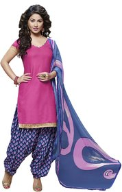 Aaina Pink Cotton Printed Suit (SB-2829) (Unstitched)