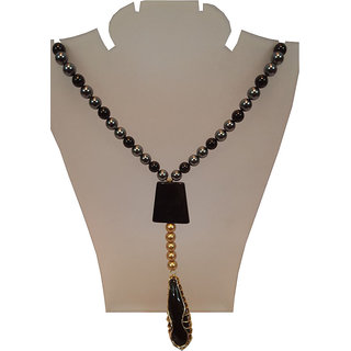 Aarna Accessories Black Color Pearl Necklaces