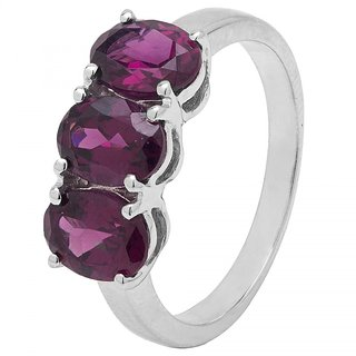 Allure Jewellery 925 Sterling Silver Three Stone Rhodolite Ring