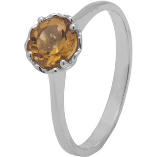 Allure Jewellery 925 Sterling Silver Single stone Citrine Ring