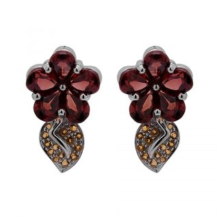Allure Jewellery 925 Sterling Silver Garnet and Citrine Earrings