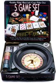 PackNBUY 5 in 1 Casino GAME SET - ROULETTE, POKER, BLACKJACK, CRAPS, POKER DICE