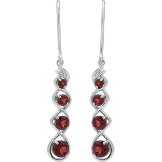 Allure Jewellery 925 Sterling Silver Garnet and CZ Women Earrings
