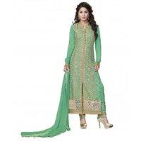 Kvsfab Heena Khan Green Pure Georgette Drees Material