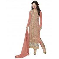 Kvsfab Pink Georgette Embroidered Salwar Suit Dress Material (Unstitched)