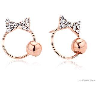 Kiara Pink Gold Plated Bow Shape Earring   KIE0091