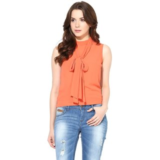 Harpa Coral Crepe Solid Womens Top
